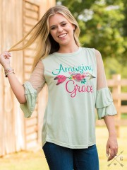 Amazing Grace Pale Green Blouse with lace Accent & Bell Sleeves