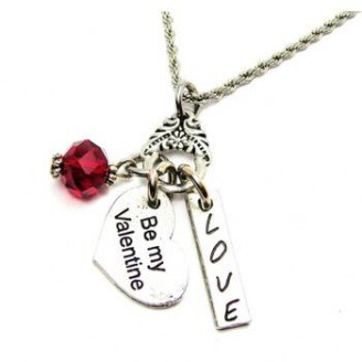 Be My Valentine Crystal Charm Necklace