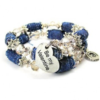 Be My Valentine Distressed Denim Beaded Bracelet