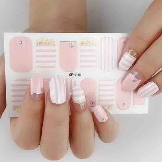 Candy Stripes Nail Polish Stickers