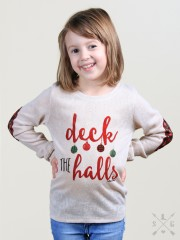 Girls Deck the Halls Beige Tunic with Plaid Elbow Patches