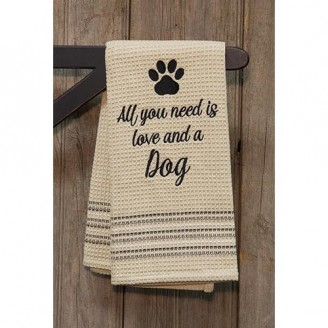 Love & Dog w Paw Print Dish Towel