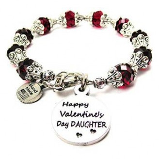 Happy Valentine's Day Daughter Beaded Bracelet