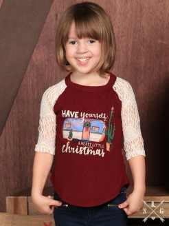 Girls Have Yourself a Merry Little Christmas on Maroon with Cream Lace Sleeves Shirt