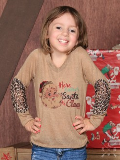 Girls Here Comes Santa Claus on Tan Shirt with Leopard Print and Lace Elbow Accent Sleeves