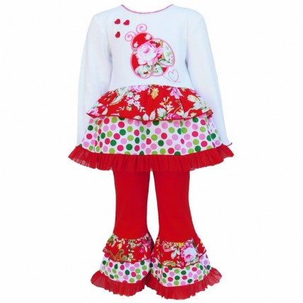 Ladybugs & Heart Red Polka Dot Floral Valentine's Day Outfit