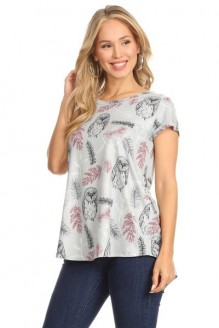 Owl and Feather Print Top