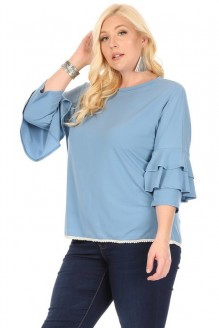 Embroidery Trim Ruffle Sleeve Top-Plus