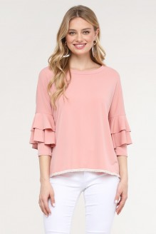 Embroidery Trim Ruffle Sleeve Top