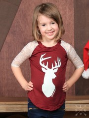 Girls White Shimmer Deer Head on Maroon Raglan with Pearl Lace Sleeves