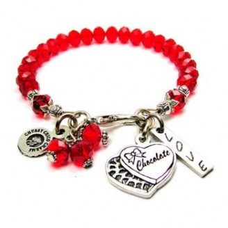 Valentine's Day Bracelet with Heart Charm and Red Beads