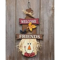 Scarecrow Head Welcome Friends Sign