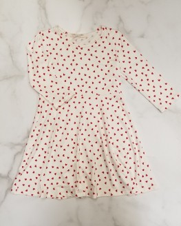 White with Red Hearts Dress for Girls