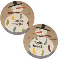 Smitten With You Snowman Plates